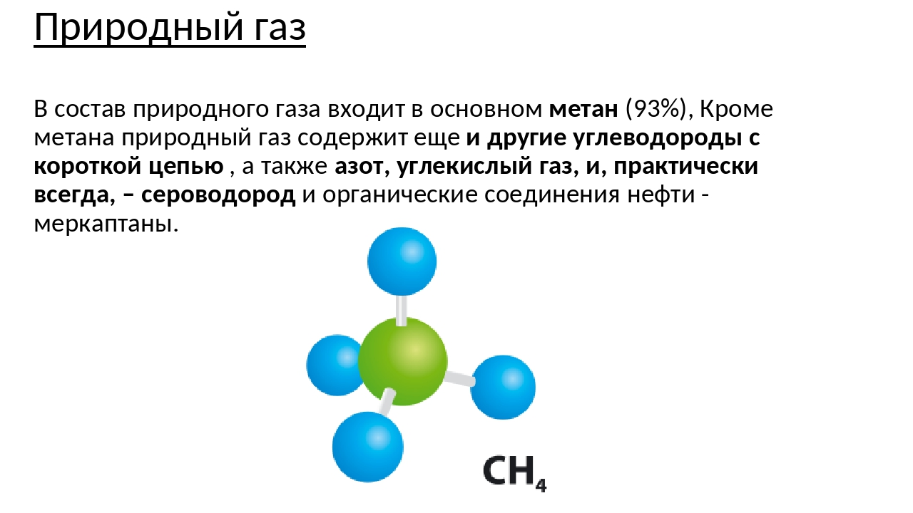 Природный газ В состав природного газа входит в основном метан (93%), Кроме м...
