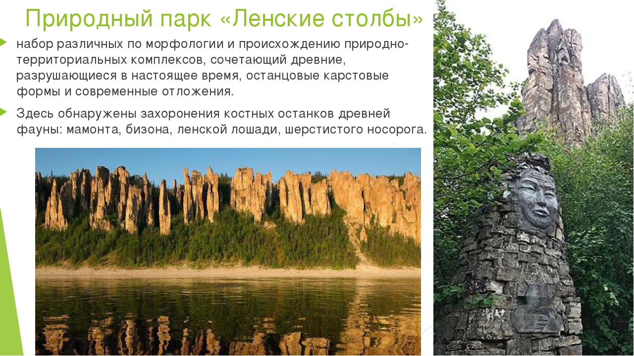 Природный парк «Ленские столбы» набор различных по морфологии и происхождению...