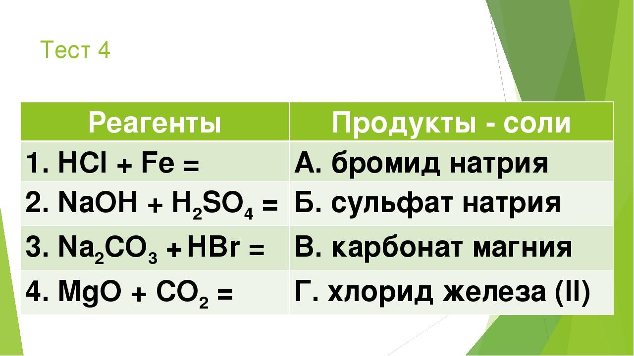 Тест 4 РеагентыПродукты - соли 1. HCl + Fe =А. бромид натрия 2. NaOH + H2SO...