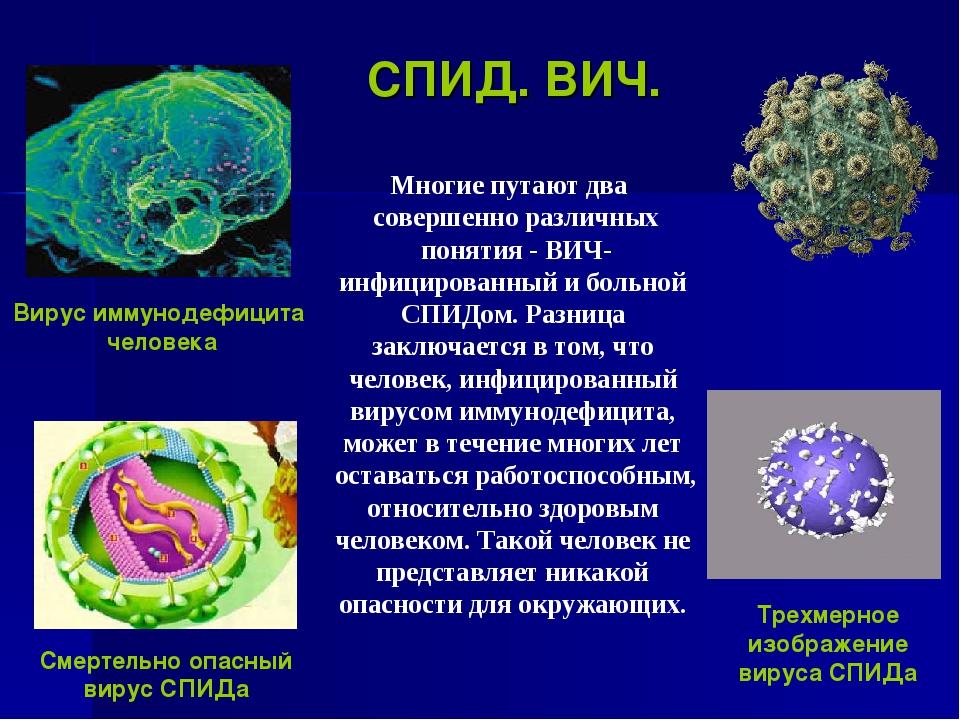 СПИД. ВИЧ. Многие путают два совершенно различных понятия - ВИЧ- инфицированн...