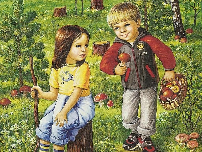Картинки для детей грибники