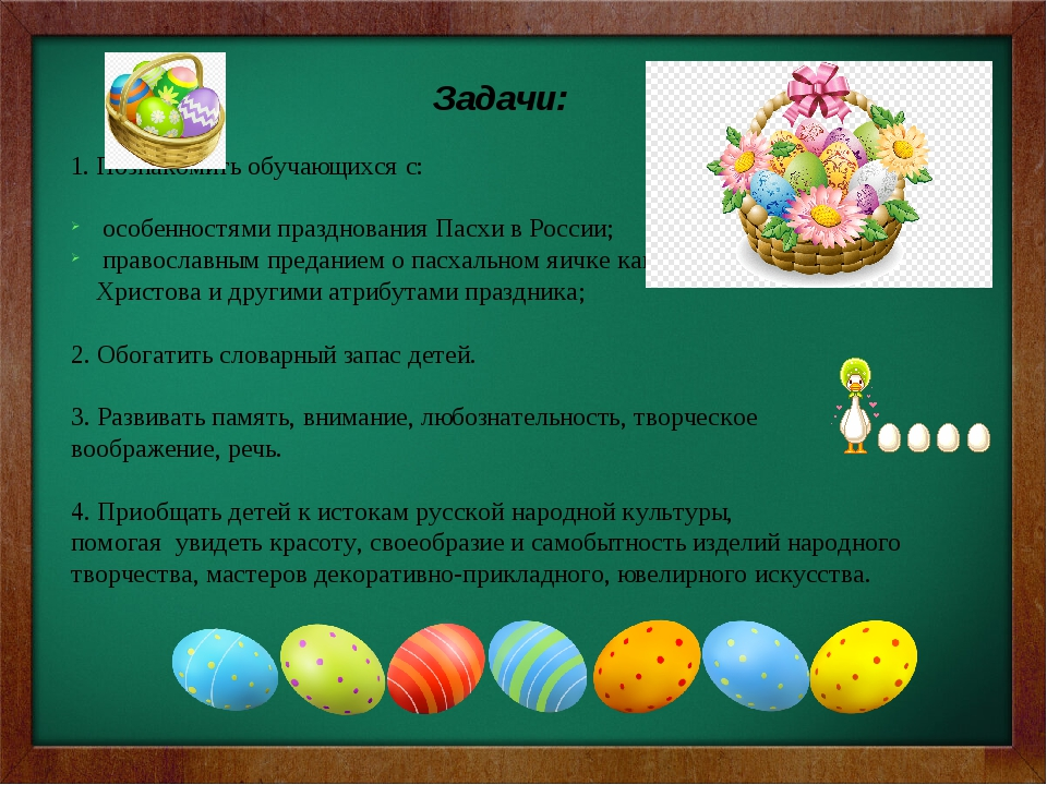 Задачи:  1. Познакомить обучающихся с:  особенностями празднования Пасхи в...