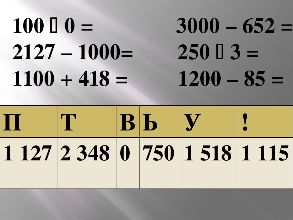 100  0 = 3000 – 652 = 2127 – 1000= 250  3 = 1100 + 418 = 1200 – 85 = П Т В...