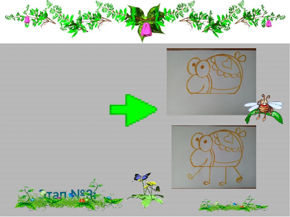 Этап №3: Рисуем шейку. Затем охрой рисуем глазки и животик. Рисуем узоры на...
