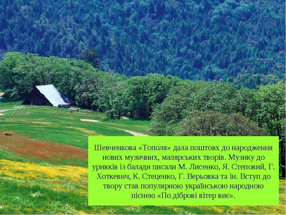 Шевченкова «Тополя» дала поштовх до народження нових музичних, малярських тво...