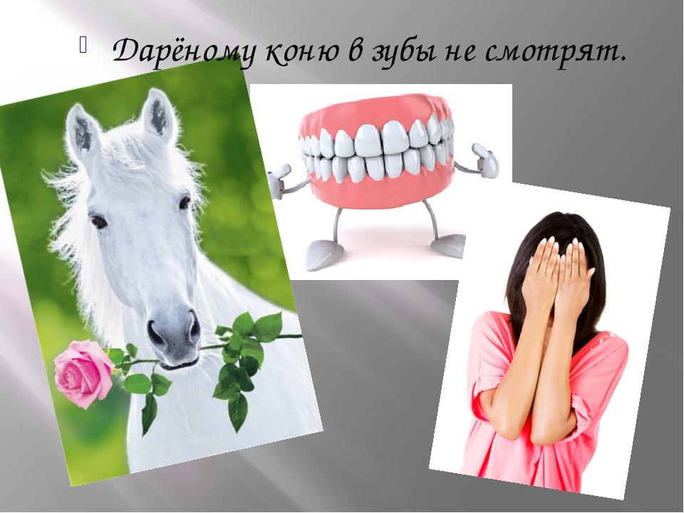 Дарёному коню в зубы не смотрят.
