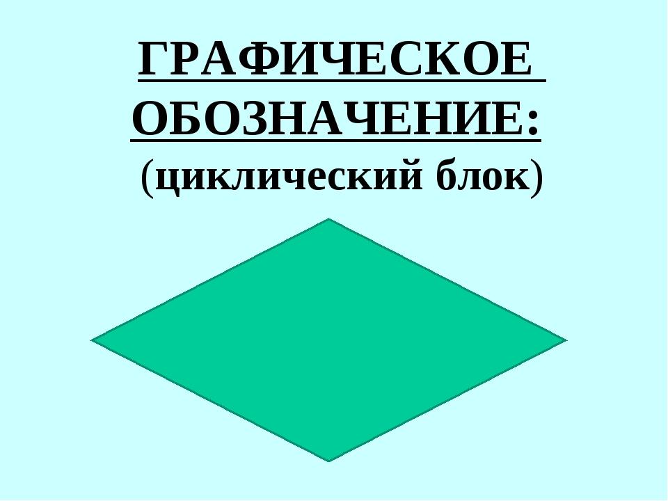 ГРАФИЧЕСКОЕ ОБОЗНАЧЕНИЕ: (циклический блок)