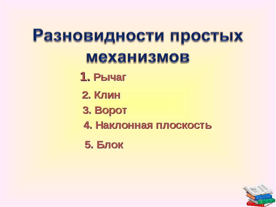 1. Рычаг 2. Клин 3. Ворот 4. Наклонная плоскость 5. Блок