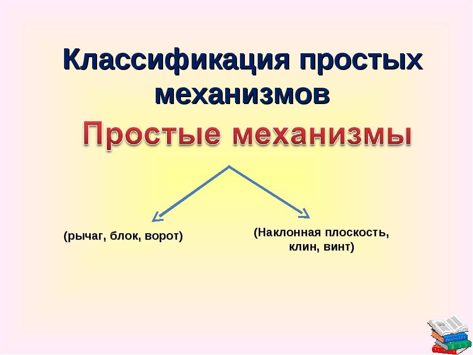 (рычаг, блок, ворот) (Наклонная плоскость, клин, винт) Классификация простых...