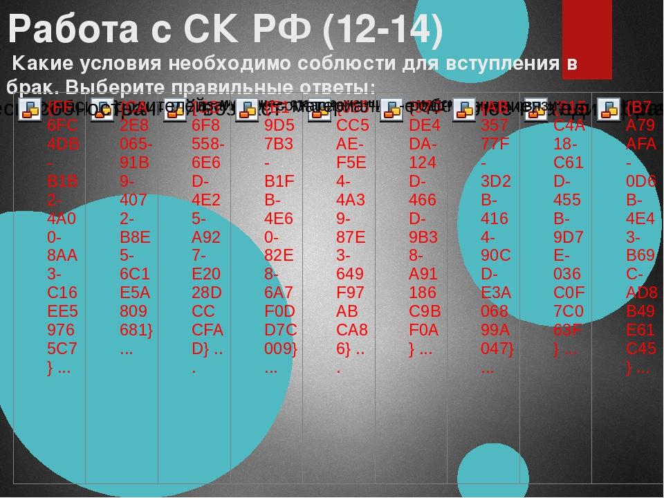 Работа с СК РФ (12-14) Какие условия необходимо соблюсти для вступления в бра...