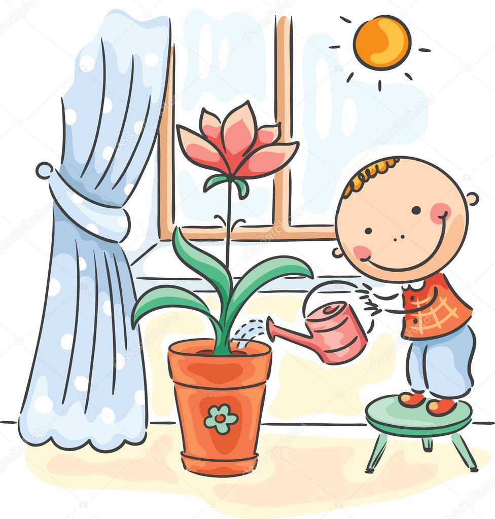 Рождением, дети поливают цветы картинки для детей