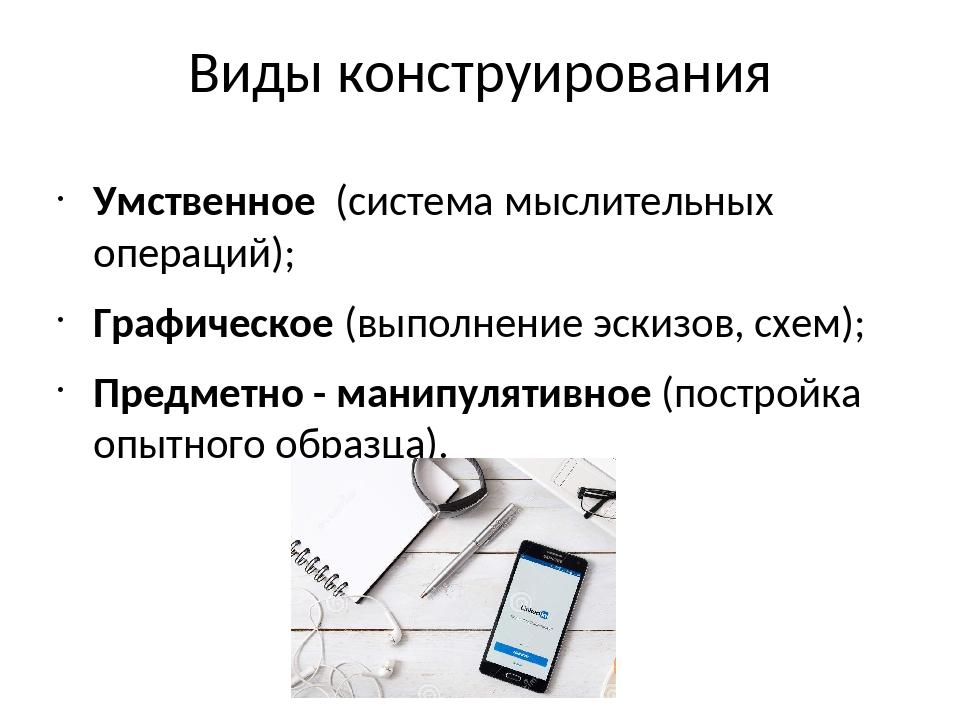 Виды конструирования Умственное (система мыслительных операций); Графическое...