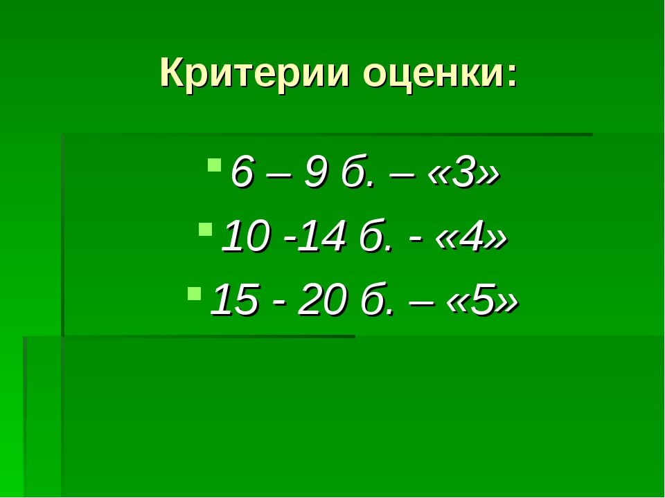 Критерии оценки: 6 – 9 б. – «3» 10 -14 б. - «4» 15 - 20 б. – «5»