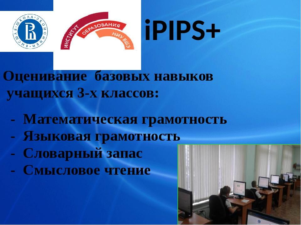 iPIPS+ Оценивание базовых навыков учащихся 3-х классов: - Математическая грам...
