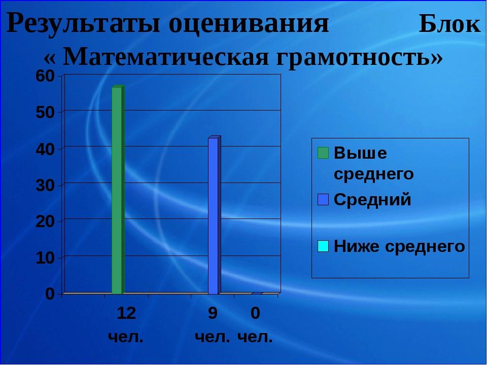 Результаты оценивания Блок « Математическая грамотность»