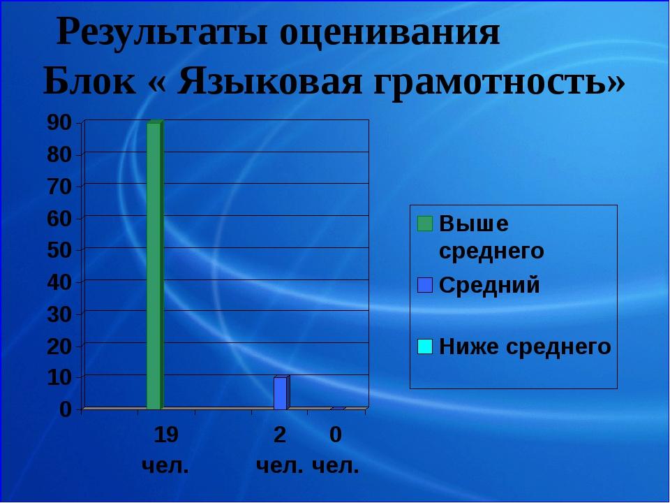 Результаты оценивания Блок « Языковая грамотность»