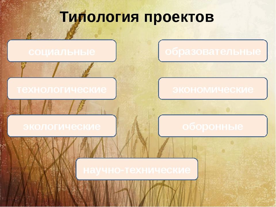 Типология проектов социальные образовательные технологические экономические э...