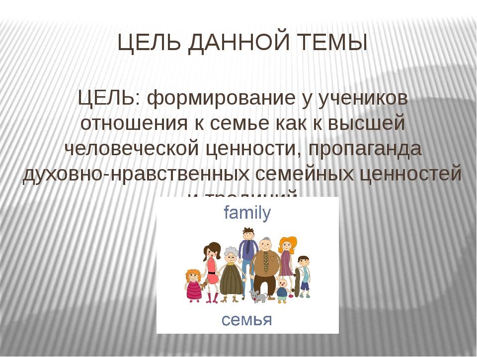 ЦЕЛЬ ДАННОЙ ТЕМЫ ЦЕЛЬ: формирование у учеников отношения к семье как к высшей...