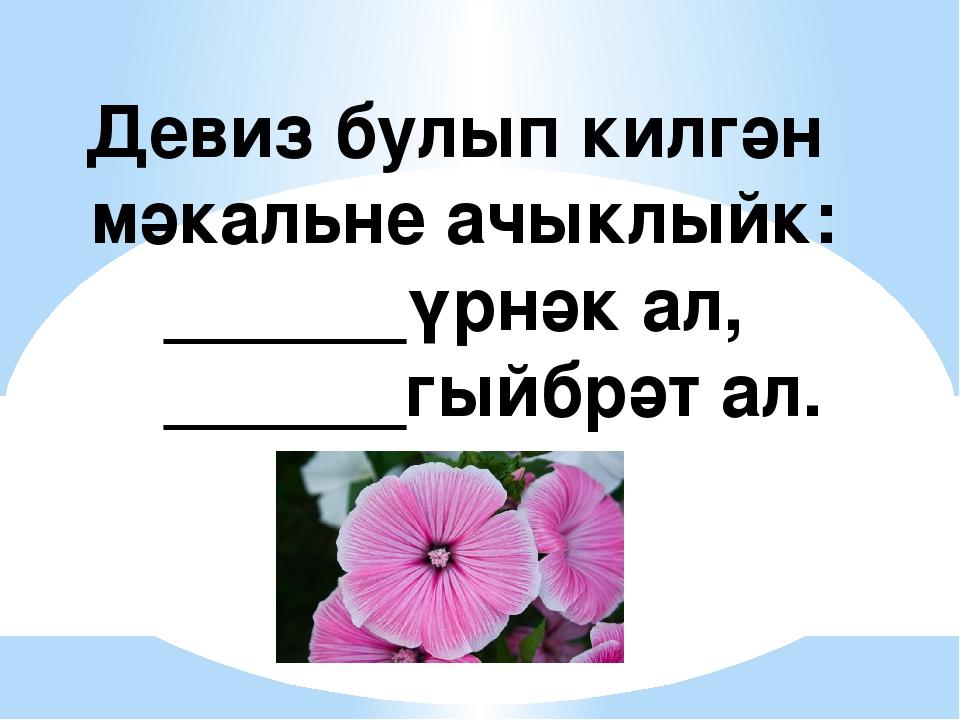 Девиз булып килгән мәкальне ачыклыйк: ______үрнәк ал, ______гыйбрәт ал.