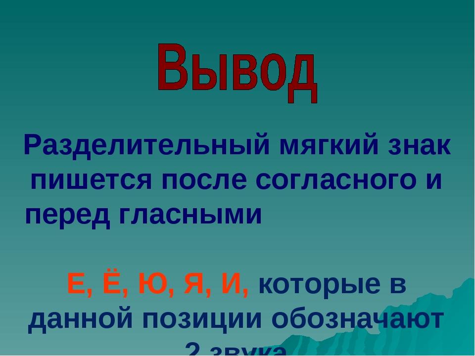 Разделительный мягкий знак пишется после согласного и перед гласными Е, Ё, Ю,...