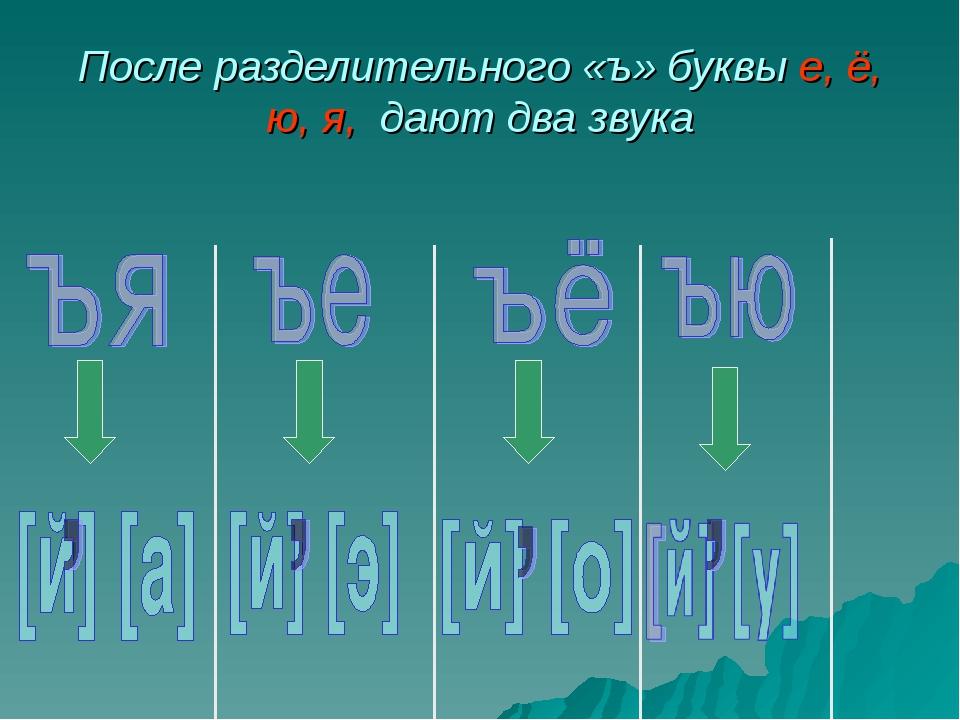 После разделительного «ъ» буквы е, ё, ю, я, дают два звука