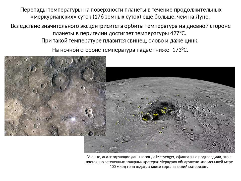 Перепады температуры на поверхности планеты в течение продолжительных «мерку...