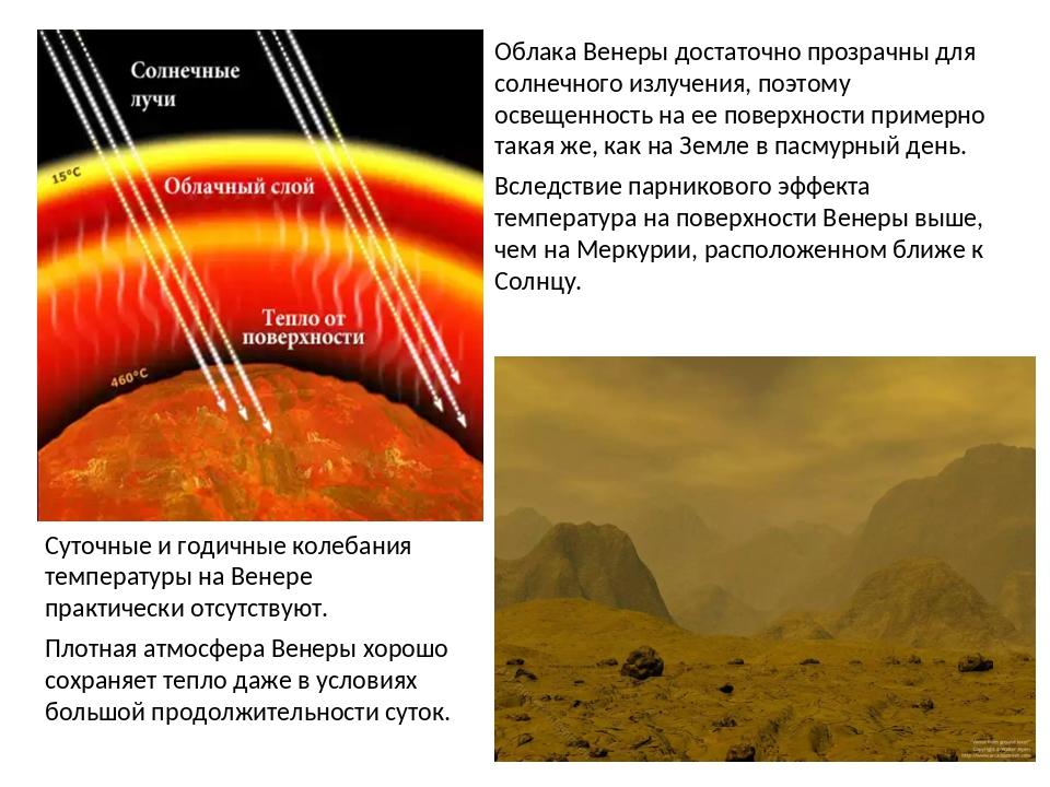 Облака Венеры достаточно прозрачны для солнечного излучения, поэтому освещенн...