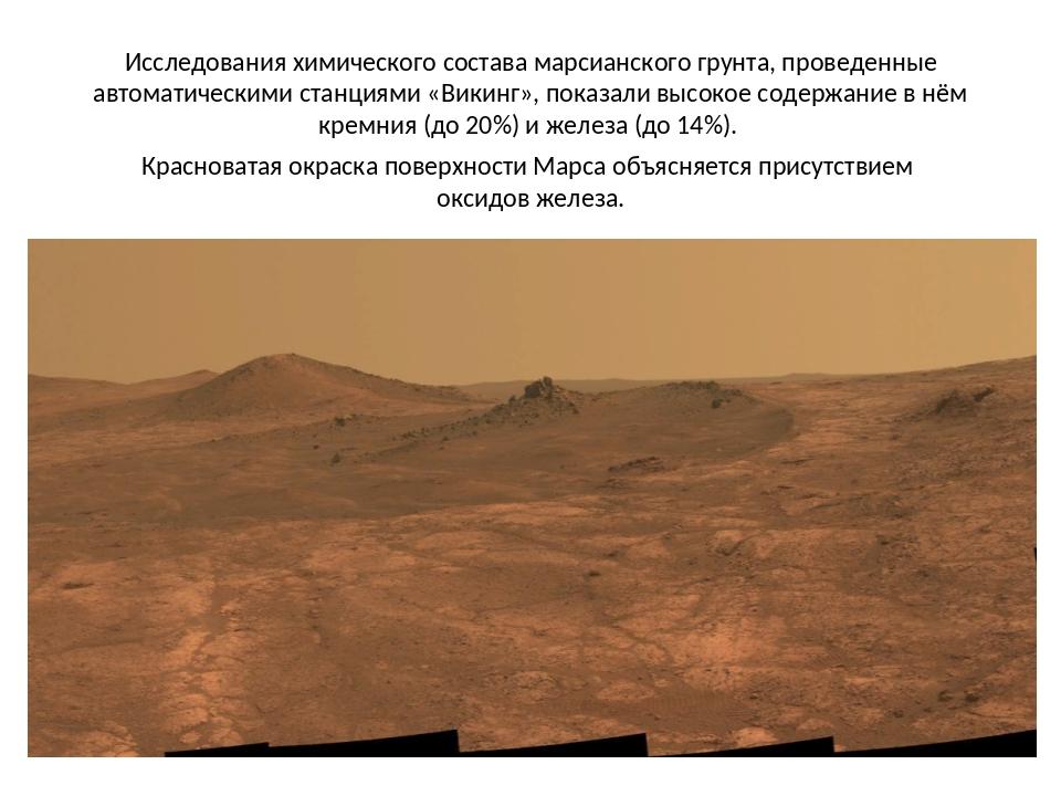 Исследования химического состава марсианского грунта, проведенные автоматичес...