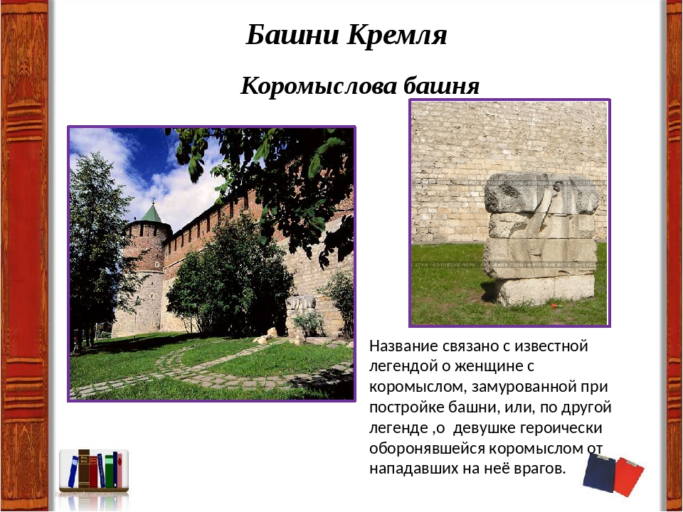 Башни Кремля Коромыслова башня Название связано с известной легендой о женщин...