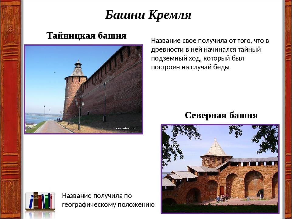 Башни Кремля Тайницкая башня Название свое получила от того, что в древности...