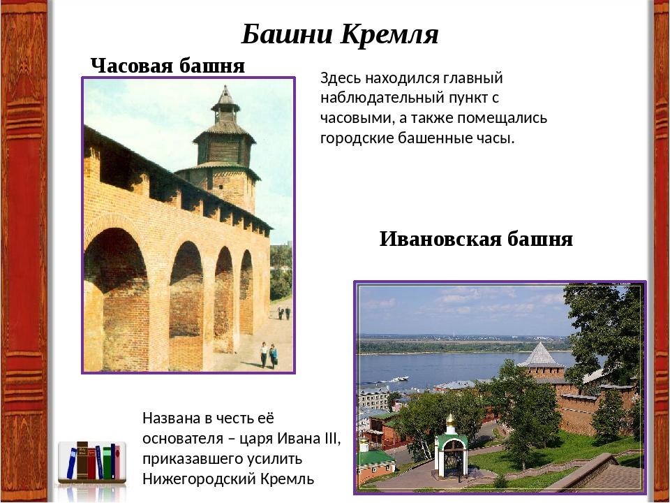 Башни Кремля Часовая башня Здесь находился главный наблюдательный пункт с час...