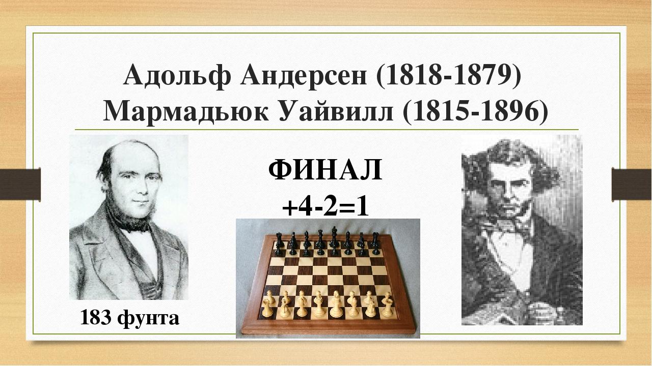 Адольф Андерсен (1818-1879) Мармадьюк Уайвилл (1815-1896) ФИНАЛ +4-2=1 183 фу...
