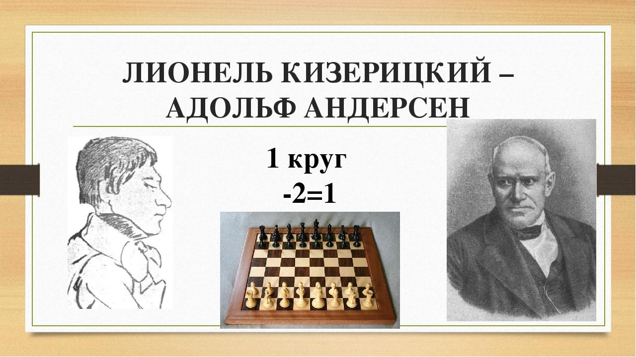 ЛИОНЕЛЬ КИЗЕРИЦКИЙ – АДОЛЬФ АНДЕРСЕН 1 круг -2=1