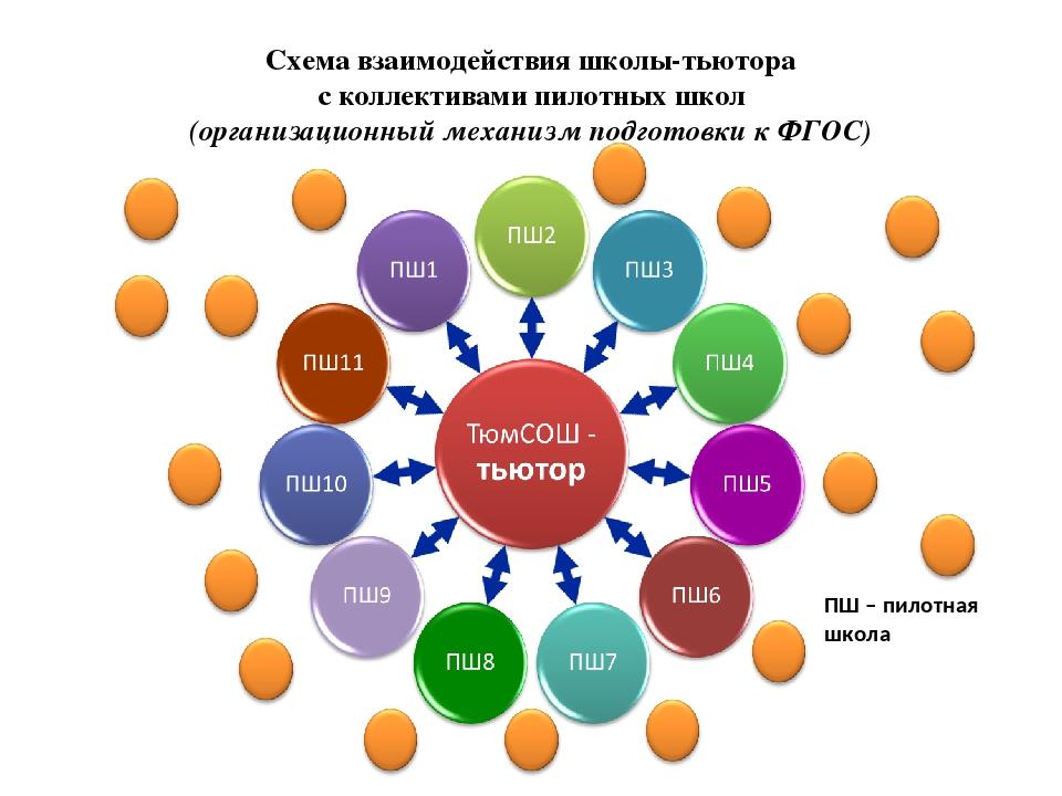 Схема взаимодействия школы-тьютора с коллективами пилотных школ (организацион...
