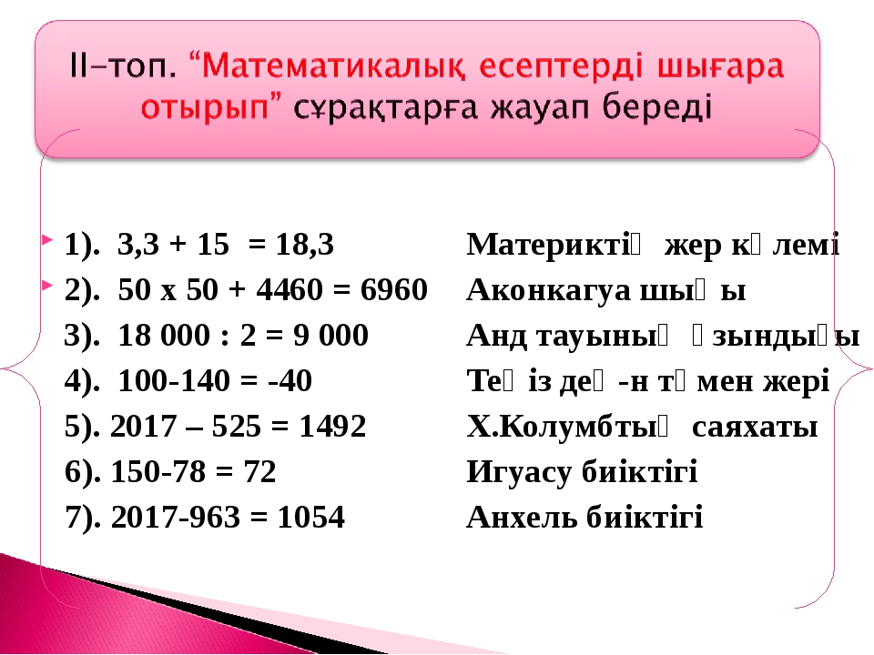 1). 3,3 + 15 = 18,3Материктің жер көлемі 2). 50 х 50 + 4460 = 6960 Аконка...