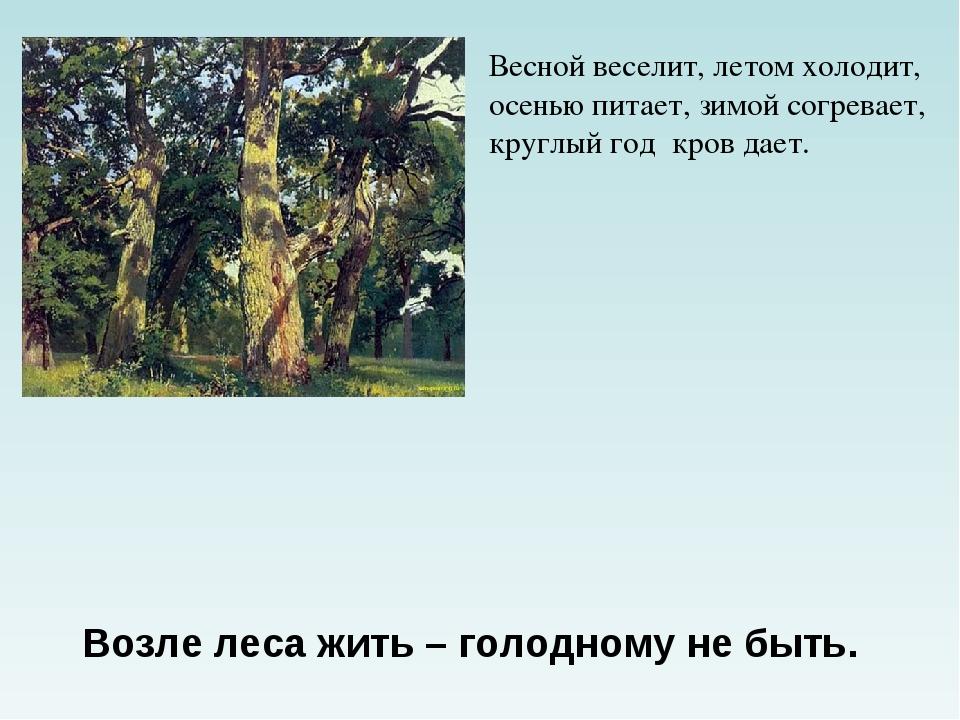 Весной веселит, летом холодит, осенью питает, зимой согревает, круглый год к...