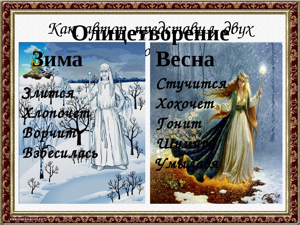 Как автор представил двух героинь? Весна Зима Злится Хлопочет Ворчит Взбесила...