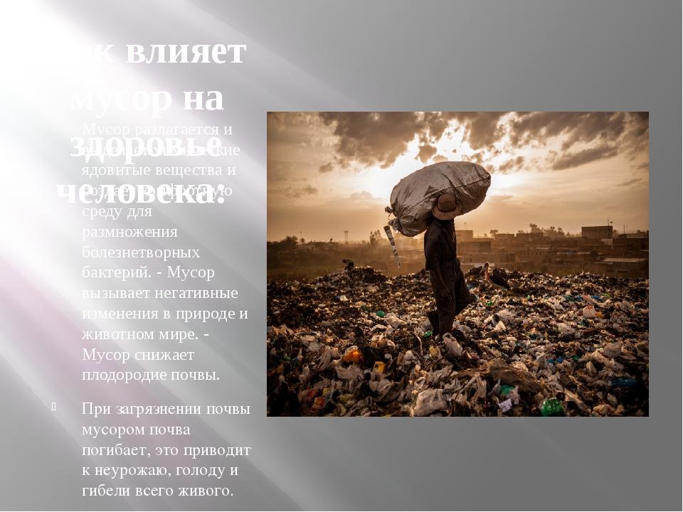 Как влияет мусор на здоровье человека: Мусор разлагается и выделяет химически...