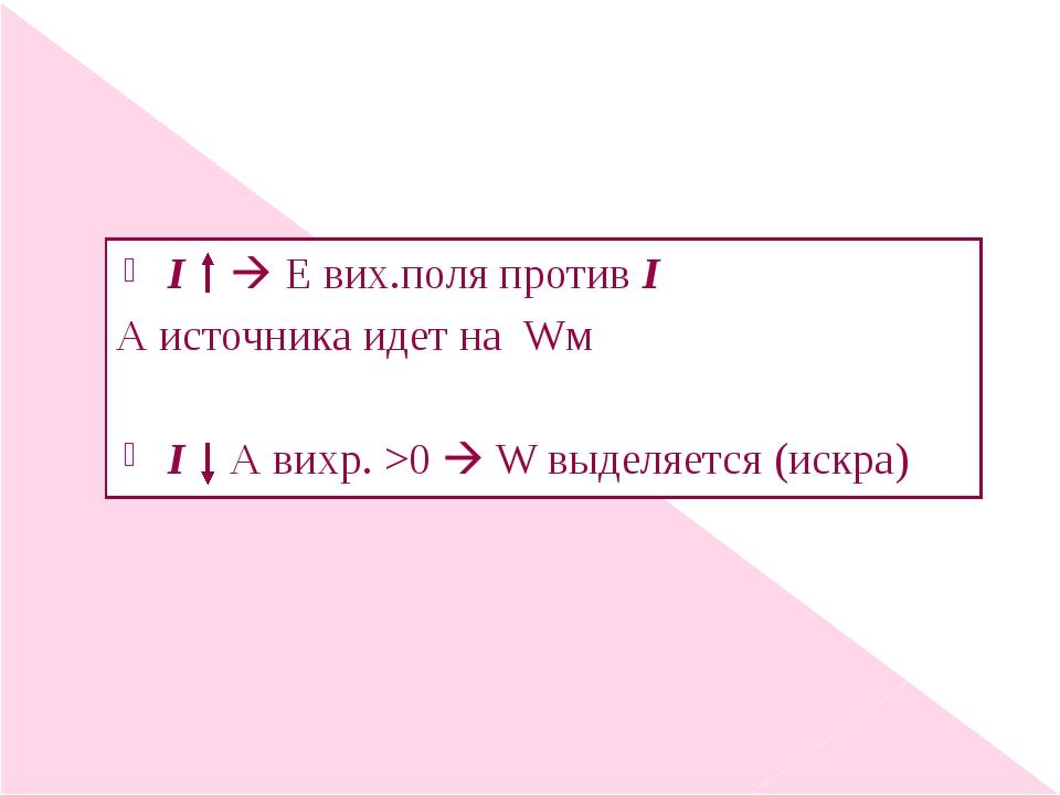 I  Е вих.поля против I А источника идет на Wм I А вихр. >0  W выделяется (и...