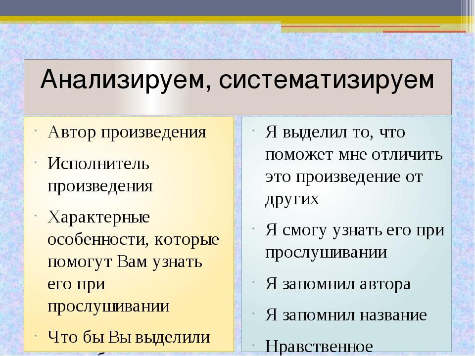 Анализируем, систематизируем Автор произведения Исполнитель произведения Хара...