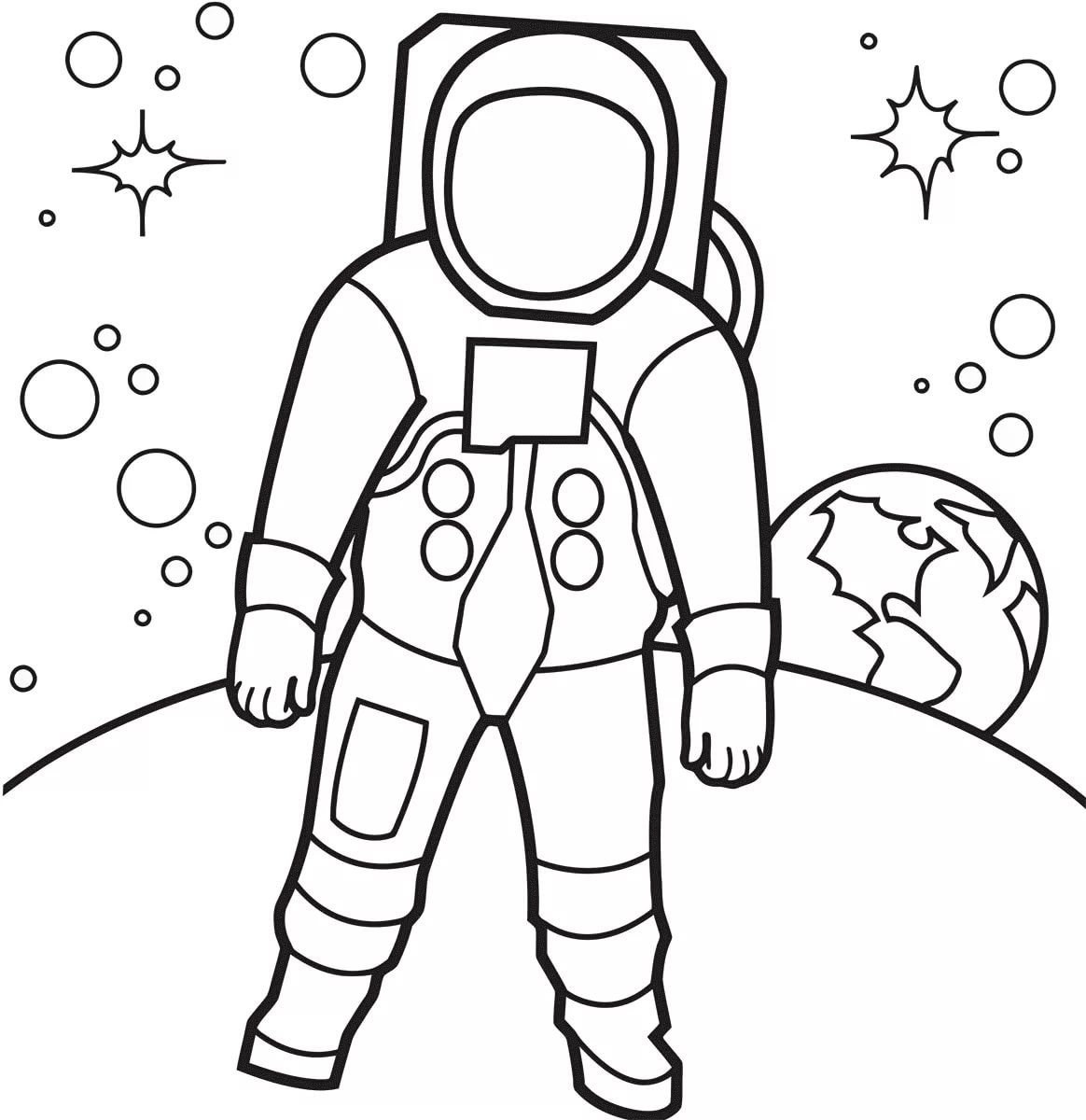 astronaut grabbing a star coloring page free printable - 842×842