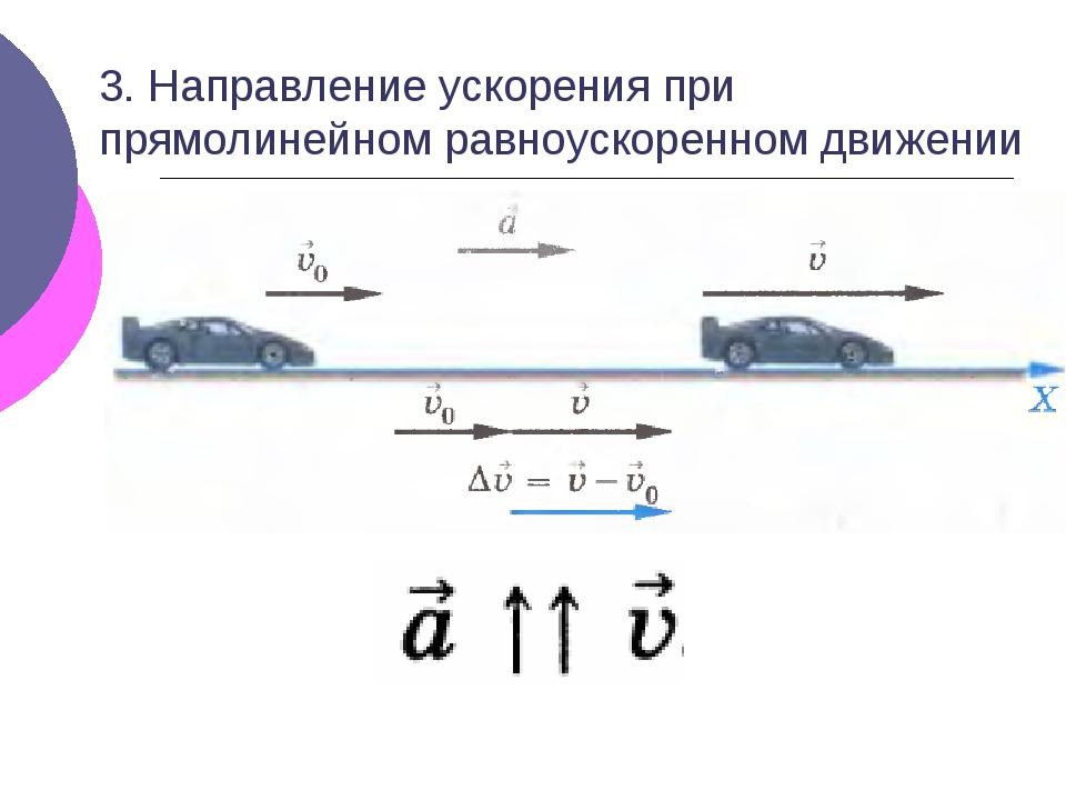3. Направление ускорения при прямолинейном равноускоренном движении