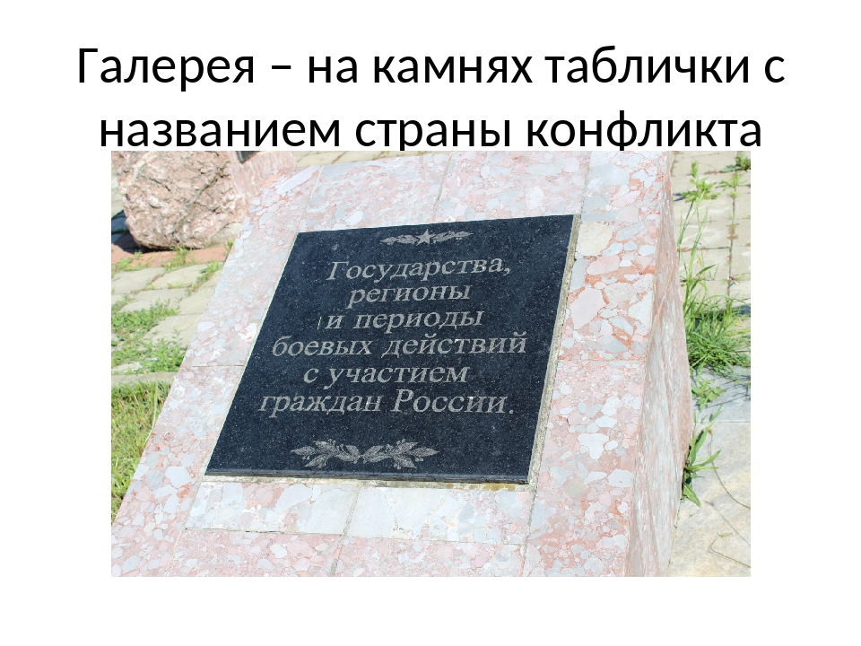 Галерея – на камнях таблички с названием страны конфликта