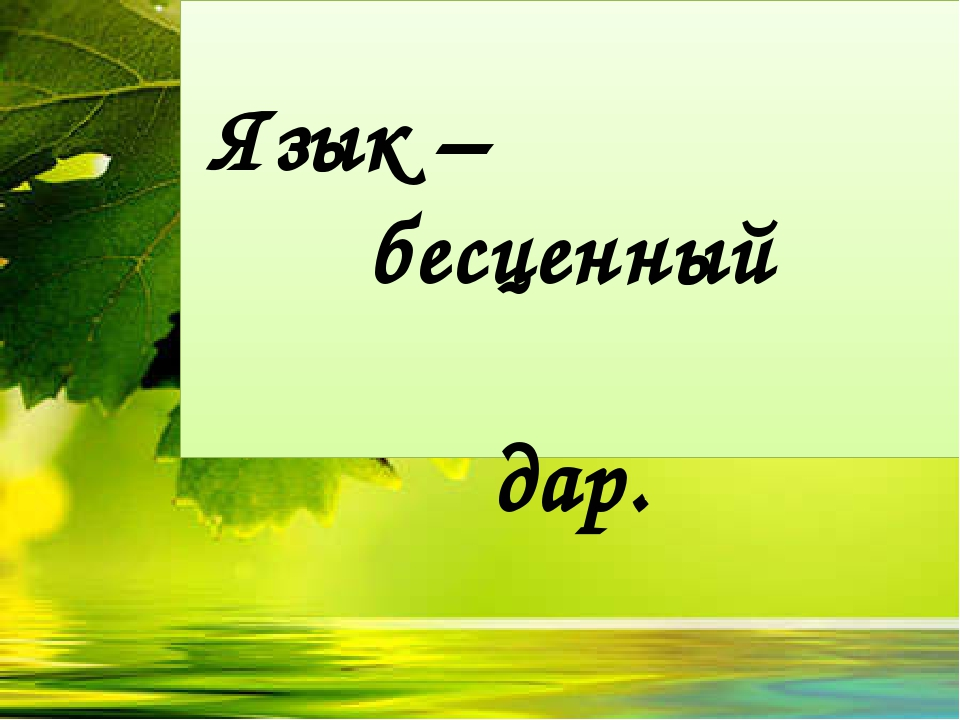 Язык – бесценный дар.