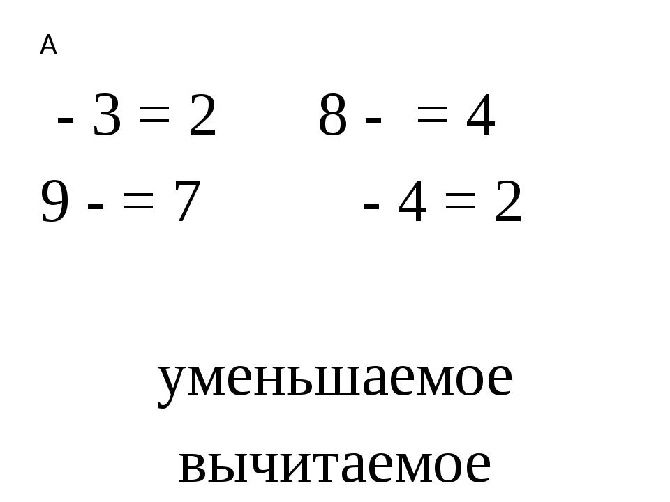 - 3 = 2 8 -  = 4 9 - = 7  - 4 = 2  уменьшаемое вычитаемое