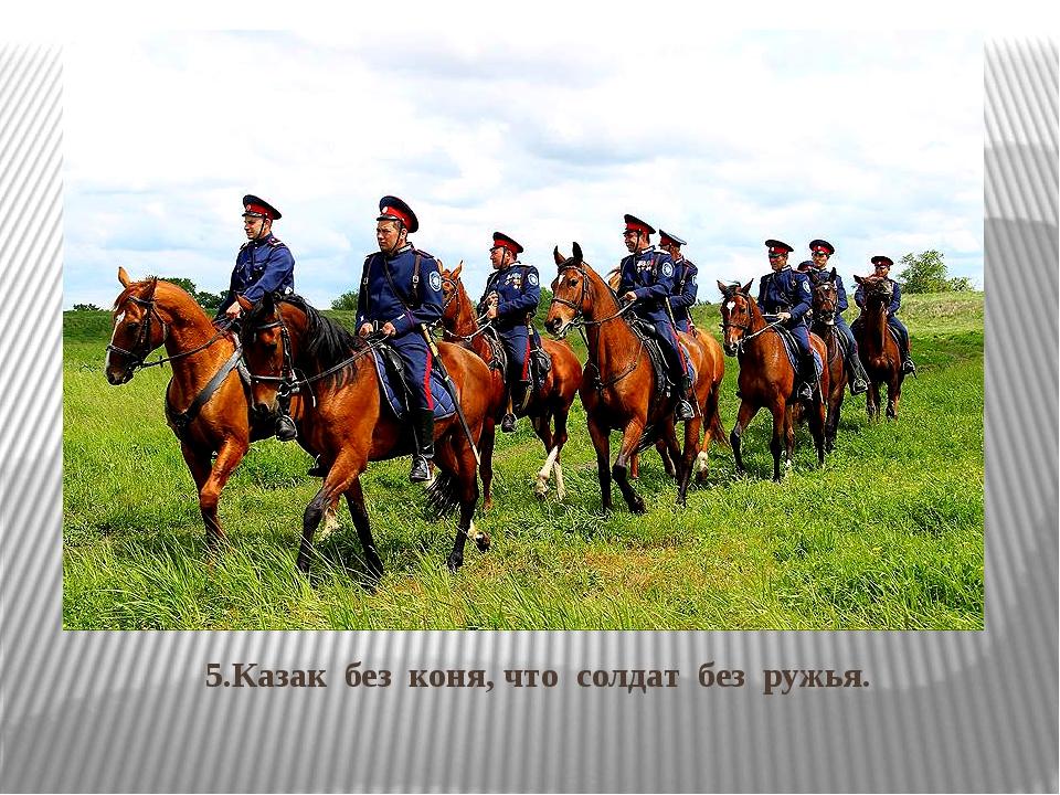5.Казак без коня, что солдат без ружья.