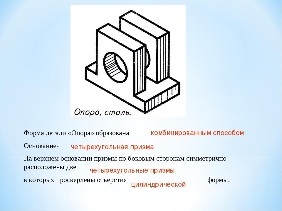 Форма детали «Опора» образована Основание- На верхнем основании призмы по бок...