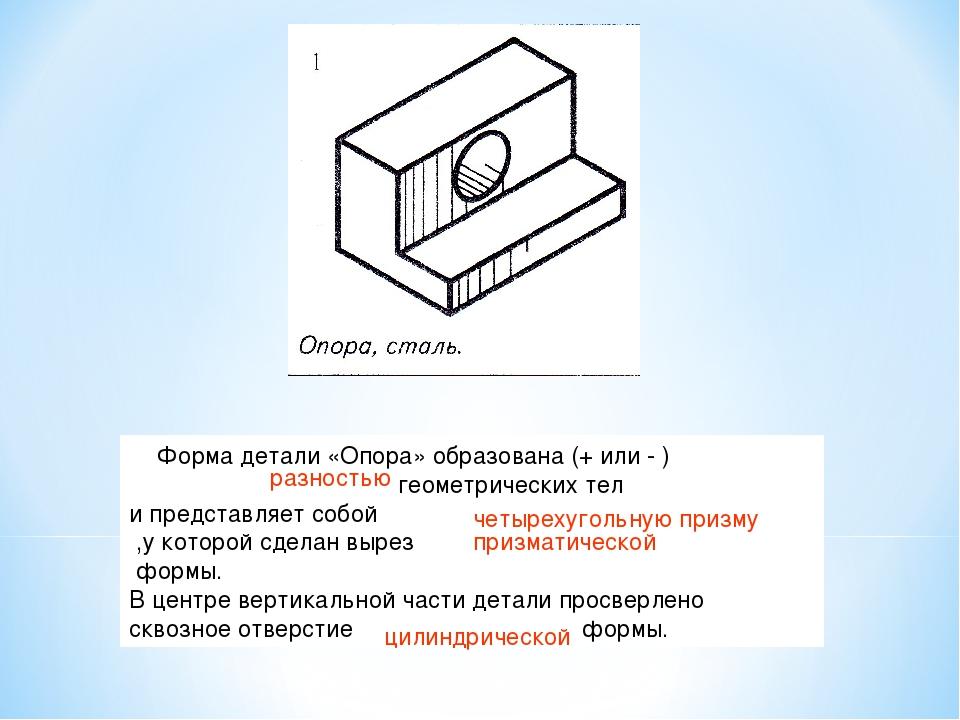 Форма детали «Опора» образована (+ или - ) геометрических тел и представляет...