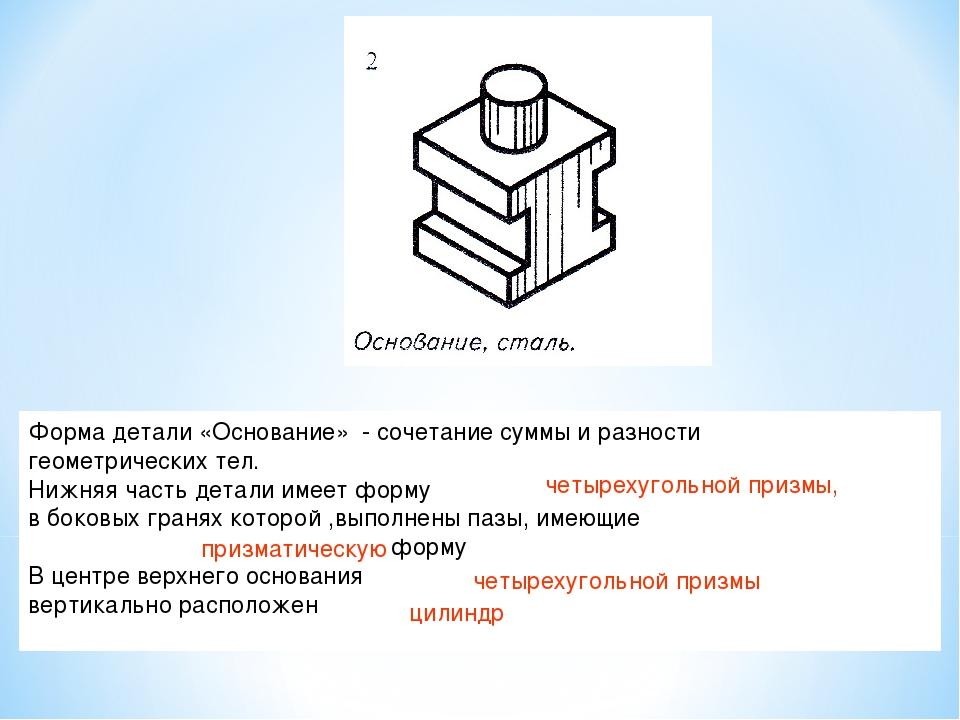 Форма детали «Основание» - сочетание суммы и разности геометрических тел. Ниж...
