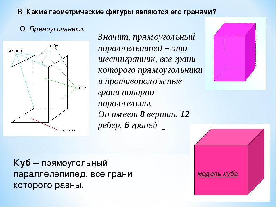 Значит, прямоугольный параллелепипед – это шестигранник, все грани которого п...